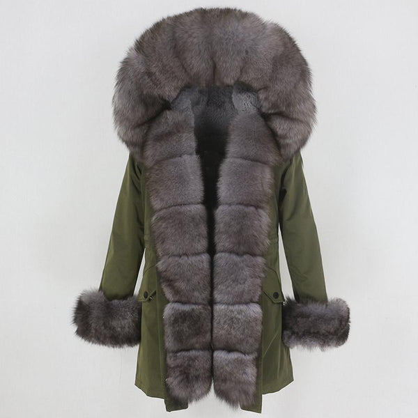Fur hooded parka with muffs outerwear