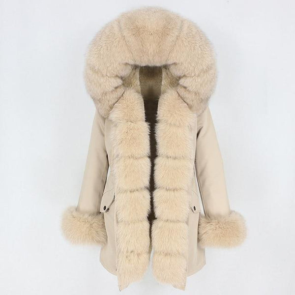 Fur hooded parka with muffs outerwear beige beige S