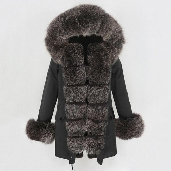 Fur hooded parka with muffs outerwear black dark brown 1 S