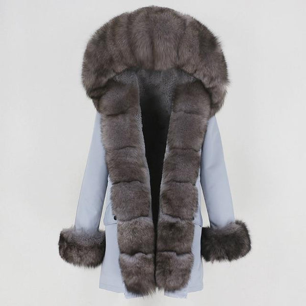 Fur hooded parka with muffs outerwear black dark grey 1 S