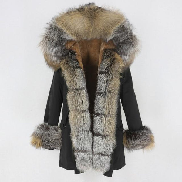 Fur hooded parka with muffs outerwear black gold silver S