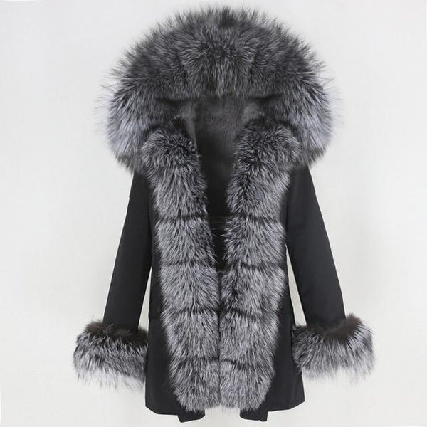 Fur hooded parka with muffs outerwear black silver 1 S