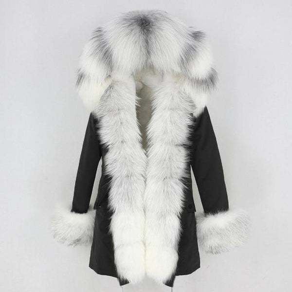 Fur hooded parka with muffs outerwear black white stripe S