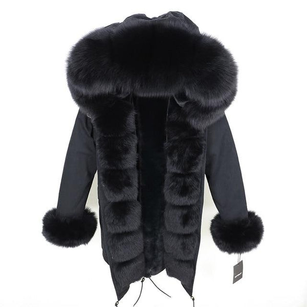 Fur hooded parka with muffs outerwear full black S