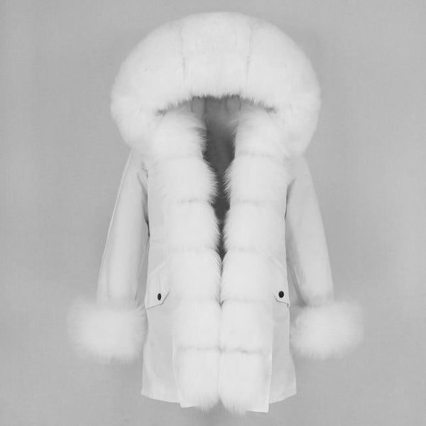 Fur hooded parka with muffs outerwear full white S