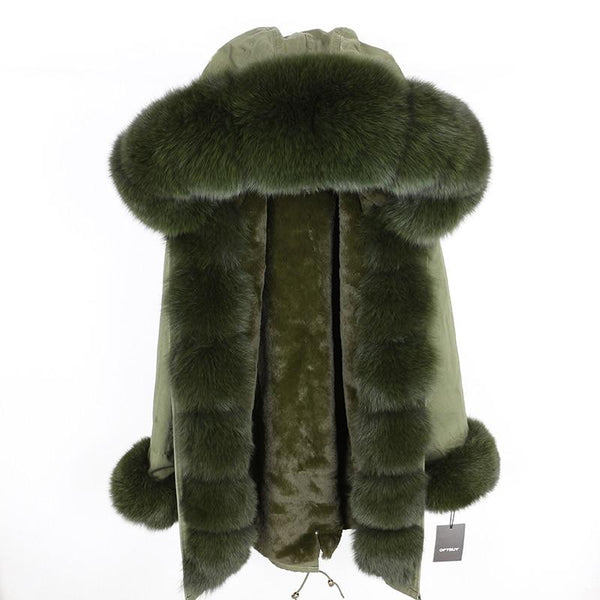Fur hooded parka with muffs outerwear green green S
