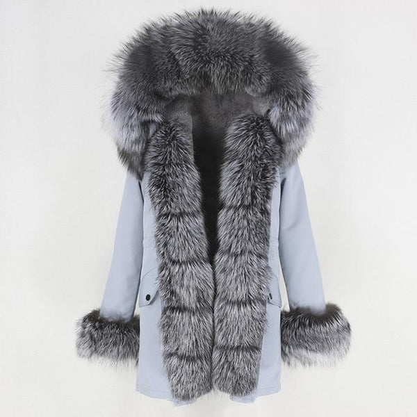 Fur hooded parka with muffs outerwear grey silver S