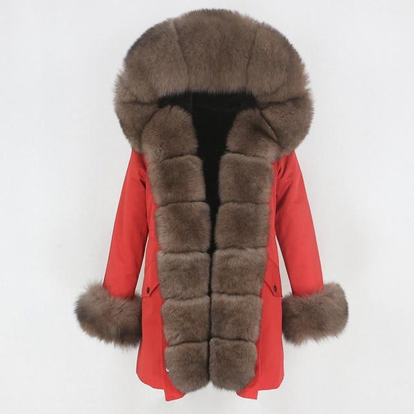 Fur hooded parka with muffs outerwear red brown S
