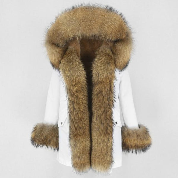 Fur hooded parka with muffs outerwear white natural S