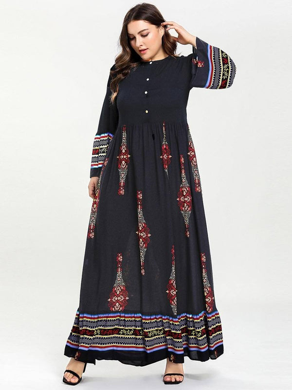 Geometric Print Retro Vintage Muslim Dress dress