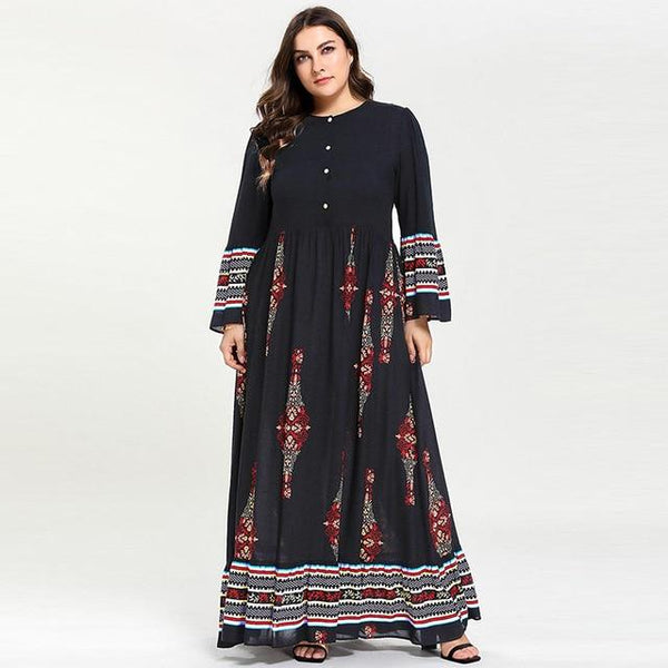 Geometric Print Retro Vintage Muslim Dress dress Black XXXL