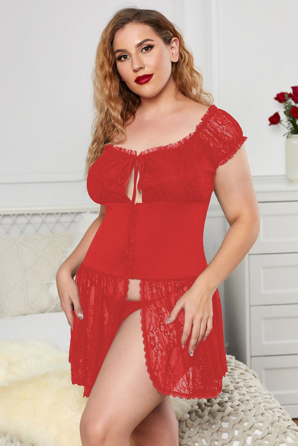 Girdle Lace Mesh Plus Size Babydoll Frill Trimming Plus Size Lingerie