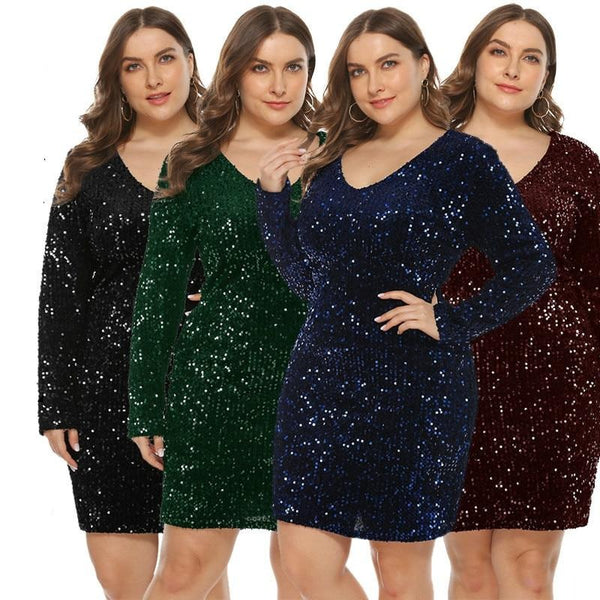 Glitter Sequin Dress Plus Size Outfit Dress