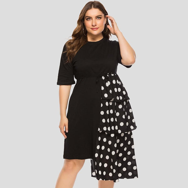 Half Sleeve Polka Dot Ruffles Party Dress