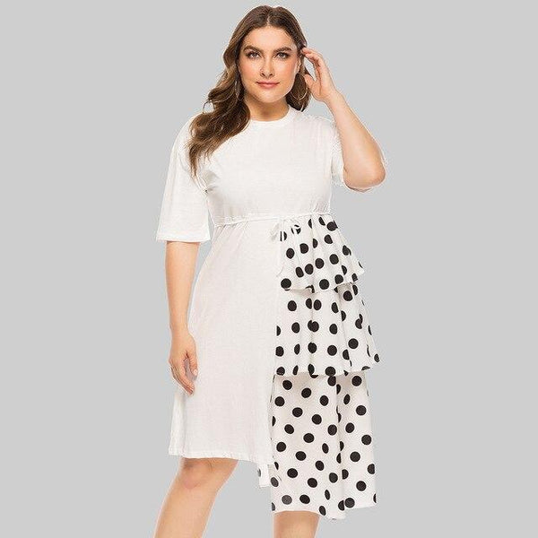 Half Sleeve Polka Dot Ruffles Party Dress White L