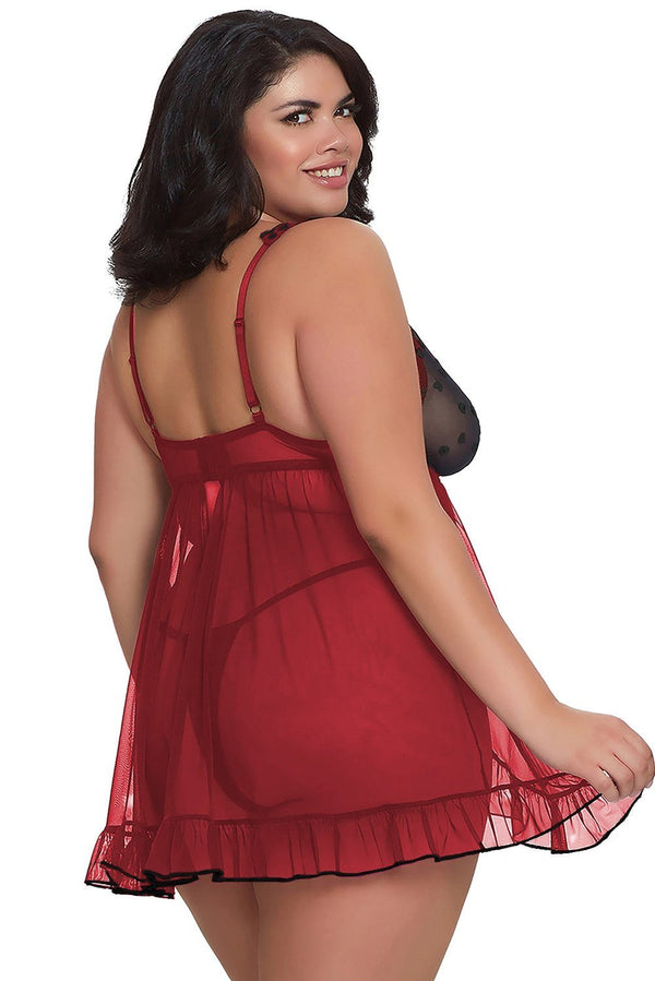 Hearts Plus Size Babydoll & G-String Set Plus Size Lingerie