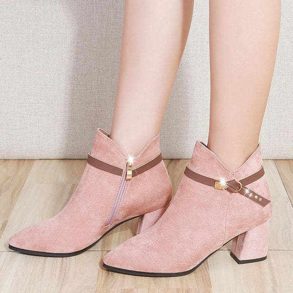 High Heel Ankle Boots Black Pink shoes