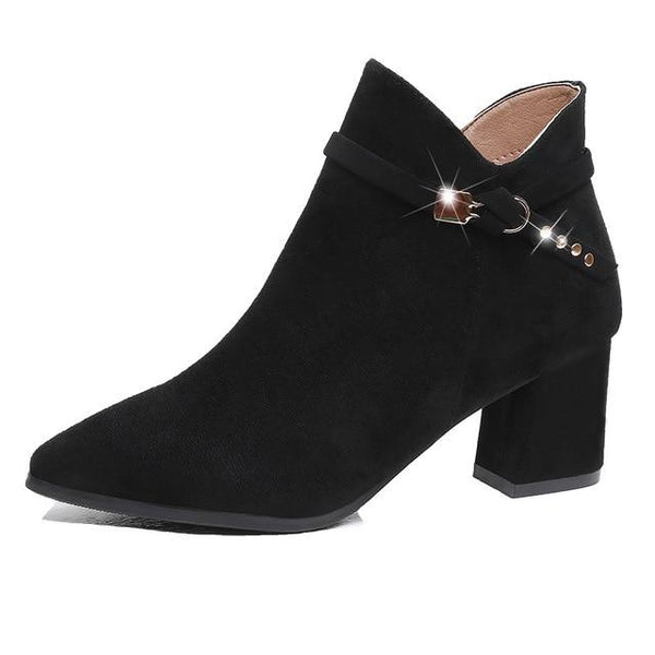 High Heel Ankle Boots Black Pink shoes Black 4.5