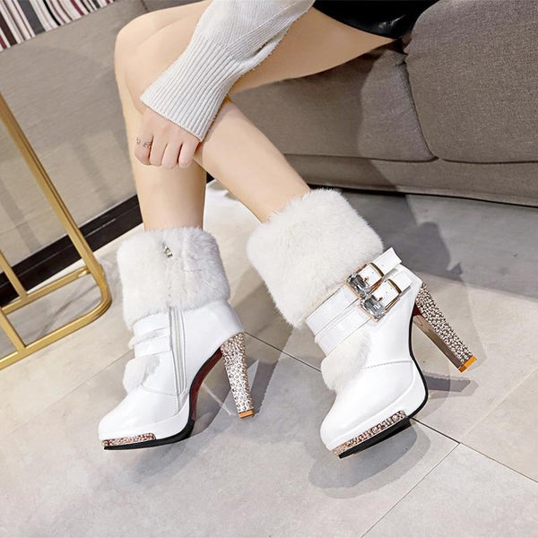 High Heel Fur Boots Black/White shoes