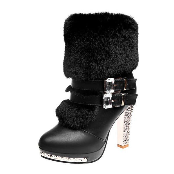 High Heel Fur Boots Black/White shoes Black 8