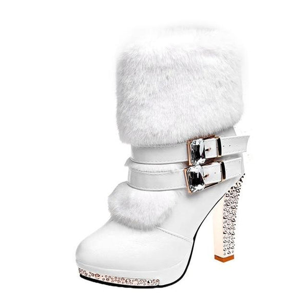 High Heel Fur Boots Black/White shoes White 7