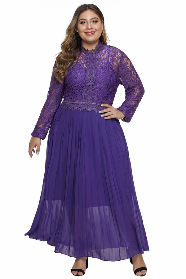 High Neck Long Sleeve Lace Top Plus Size Maxi Dress dress