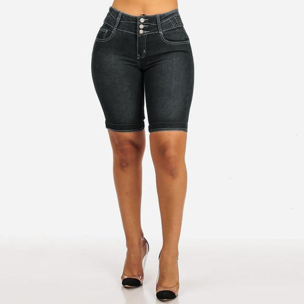 High Waist Mom Jean Shorts shorts Black XXXL