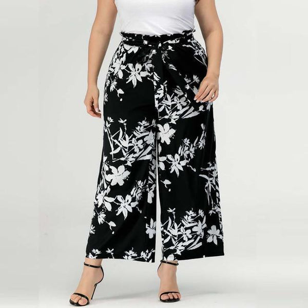 High Waist Wide Leg Pants Black Loose Trousers pants Black XXXL