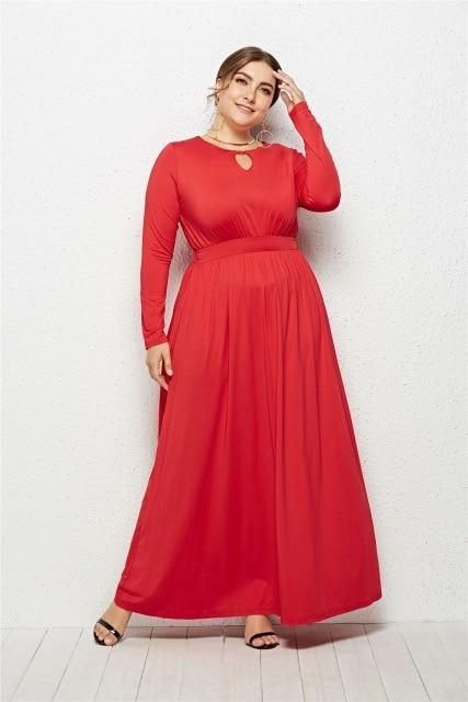 Hole O Neck Solid Casual Long Dress dress Red XXXL
