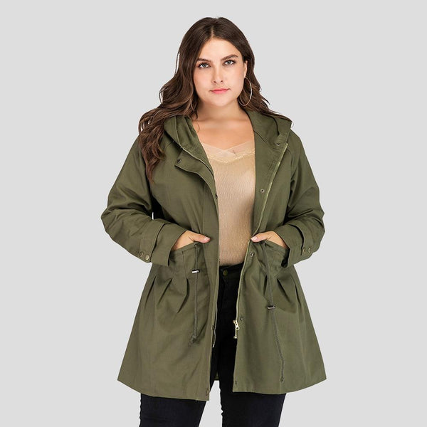 Hooded Green Loose Big Size Long Coats Coats & Jackets