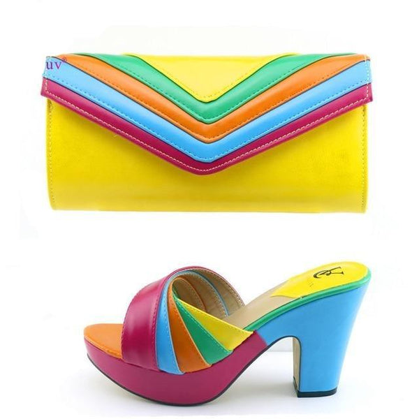 Italian Designer Shoe & Matching Bag Sets in Colors shoes Yellow 39