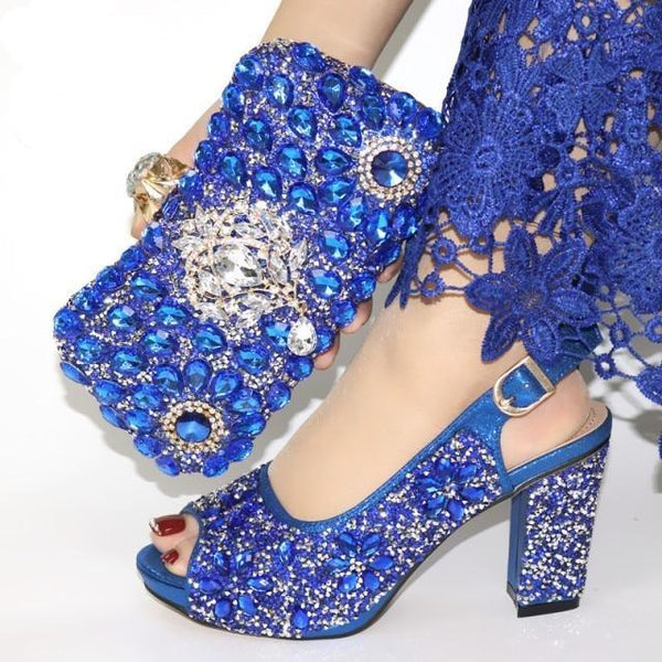 Italian Style Glitter Shoes with Matching Bags shoes blue shoe bag 38