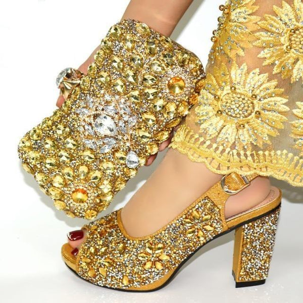 Italian Style Glitter Shoes with Matching Bags shoes gold shoe bag 38