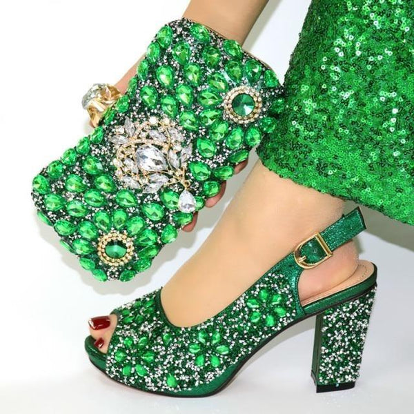 Italian Style Glitter Shoes with Matching Bags shoes green shoe bag 38