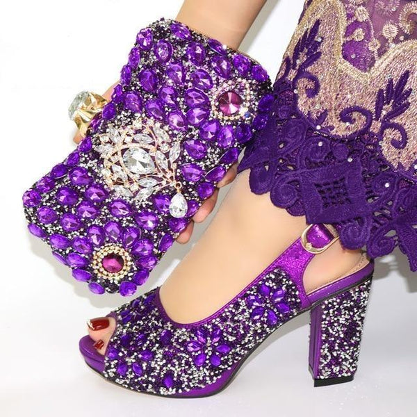 Italian Style Glitter Shoes with Matching Bags shoes purple shoe bag 38
