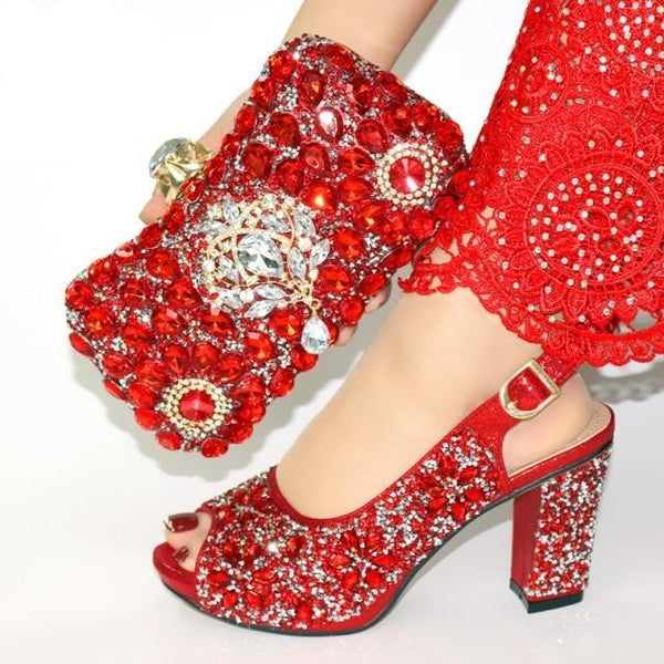 Italian Style Glitter Shoes with Matching Bags shoes red shoe bag 38