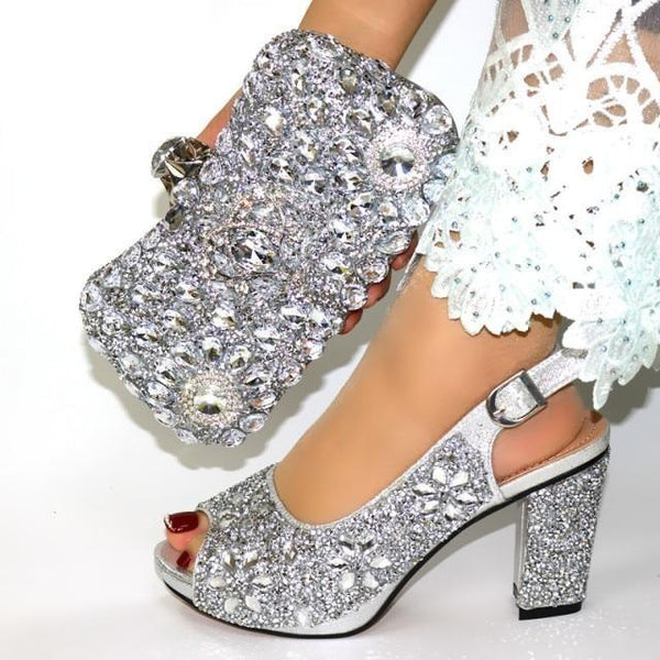 Italian Style Glitter Shoes with Matching Bags shoes silver shoe bag 38