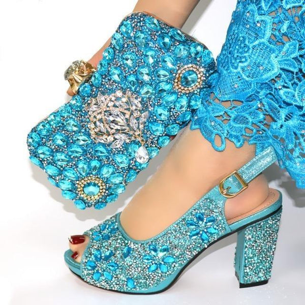 Italian Style Glitter Shoes with Matching Bags shoes sky blue shoe bag 38