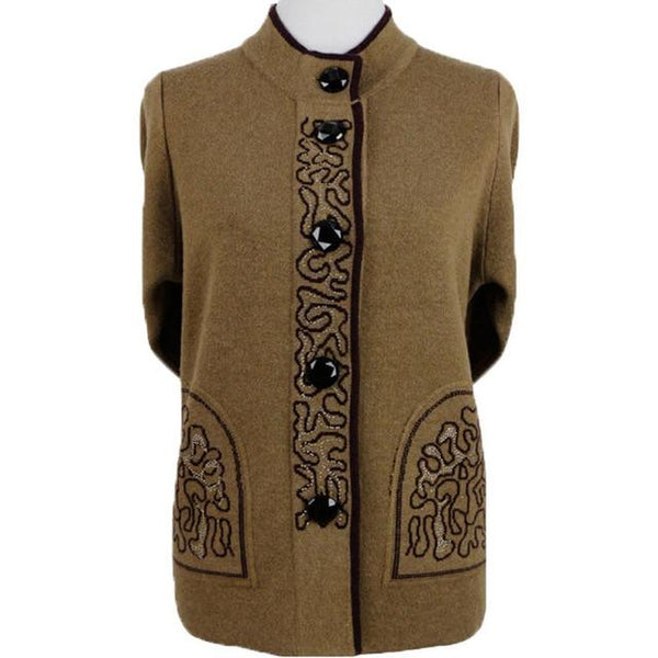 Knitted Wool Front-button Sweater with brocade design cardigan 5XL Brown Coffee