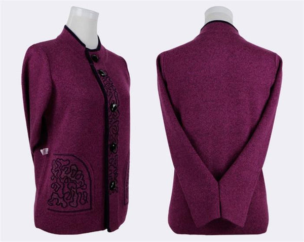 Knitted Wool Front-button Sweater with brocade design cardigan