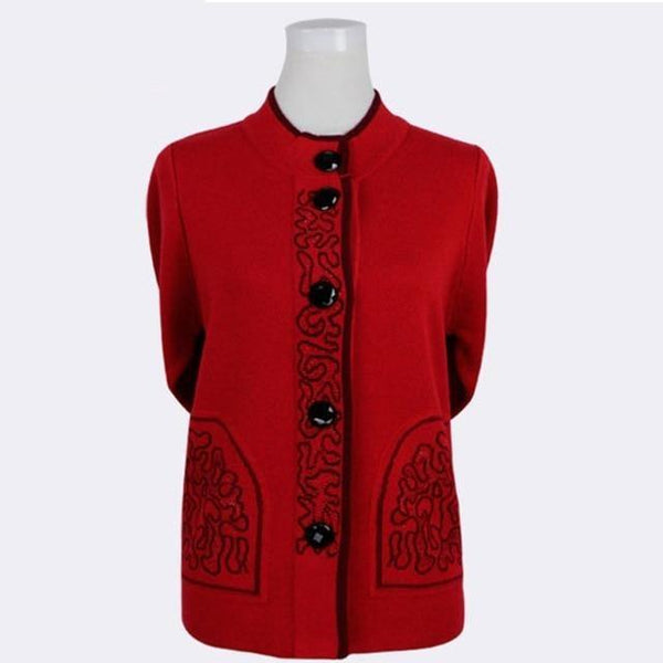 Knitted Wool Front-button Sweater with brocade design cardigan L red