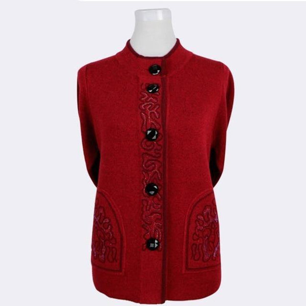 Knitted Wool Front-button Sweater with brocade design cardigan M Claret