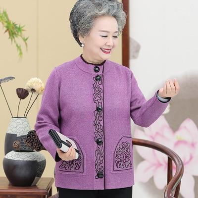 Knitted Wool Front-button Sweater with brocade design cardigan M Light purple