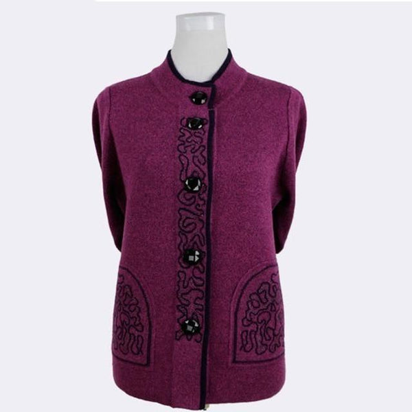 Knitted Wool Front-button Sweater with brocade design cardigan M purple