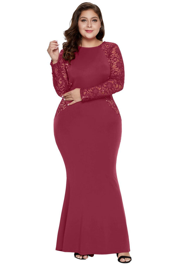 Lace and Knit Plus Size A-line Gown dress