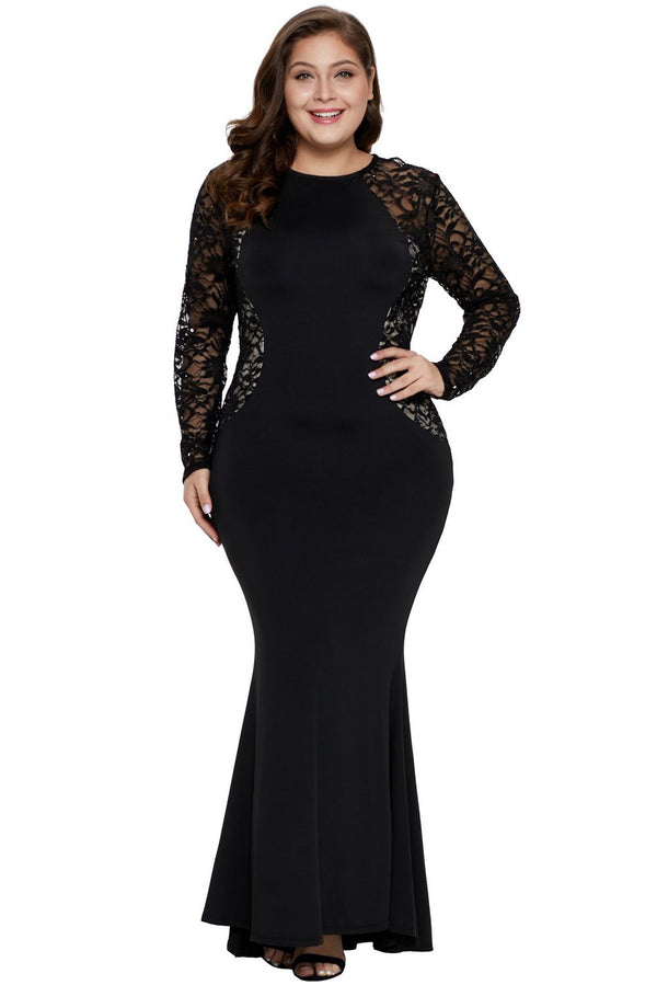 Lace and Knit Plus Size A-line Gown dress Black 1X