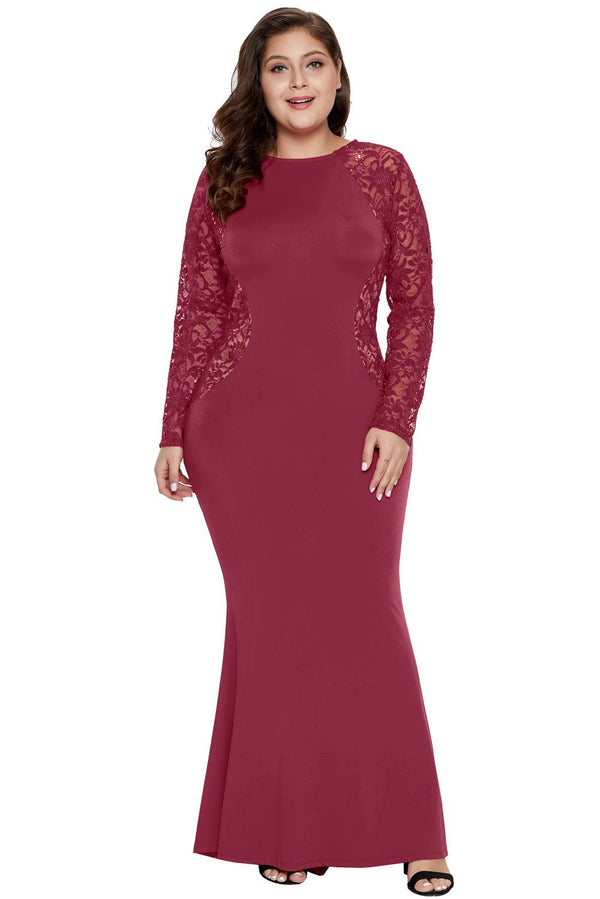 Lace and Knit Plus Size A-line Gown dress Red 1X