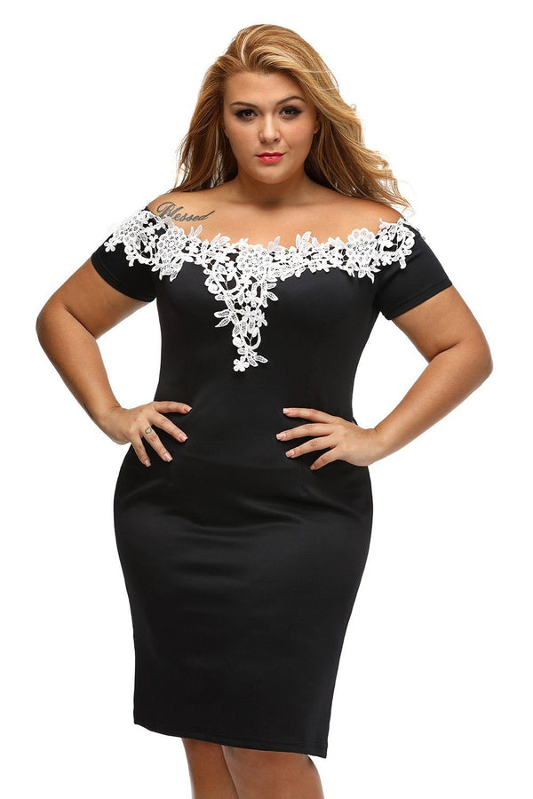 Lace Crochet Off Shoulder Black Plus Size Pencil Dress dress