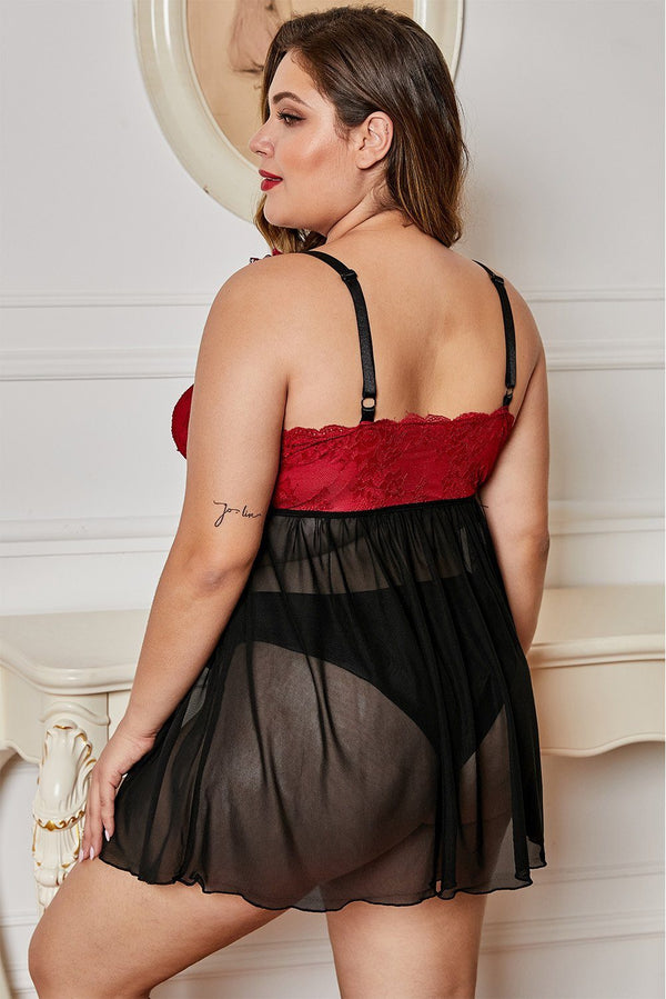 Lace Cup Tulle Skirt Plus Size Babydoll Plus Size Lingerie