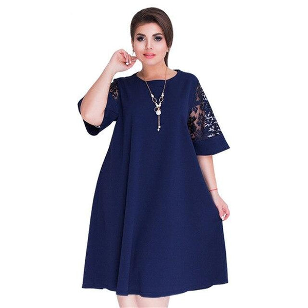 Lace Elegant Short Dress dress Navy Blue XXXL